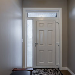 exterior residential white door viewed from inside