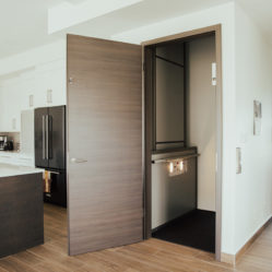 interior door with elevator in kitchen