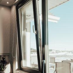 residential kitchen tilt and turn windows in tilt position