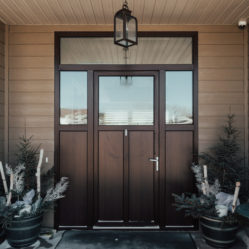 oversized exterior residential door with transom